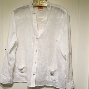 Ruby Road Sheer Cream Shimmery Blouse Sz 16Petite